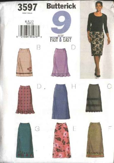 Butterick Sewing Pattern 3597 Misses Size 6-8-10 Easy Classic Fitted A-Line Straight Skirts