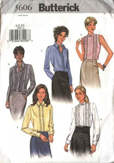 Butterick Sewing Pattern 3606 Misses Size 6-8-10 Button Ruffle Front Blouses Shirts Top