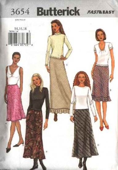 Butterick Sewing Pattern 3654 Misses Size 14-16-18 Easy A-Line Bias Lined Short Long Skirt
