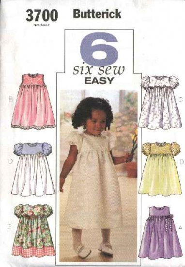 Butterick Sewing Pattern 3700 Toddler Girls Size 1-2-3-4 Easy Classic Dress
