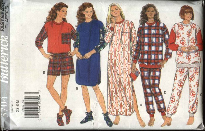 Butterick Sewing Pattern 3704 Misses Size 6-14 Easy Nightshirt Pajamas Booties Top Pants Shorts