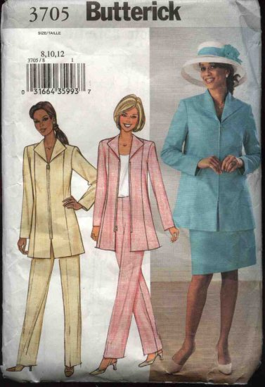 Butterick Sewing Pattern 3705 Misses Size 8-10-12 Easy Zipper Front Lined Jacket Skirt Pants Suit