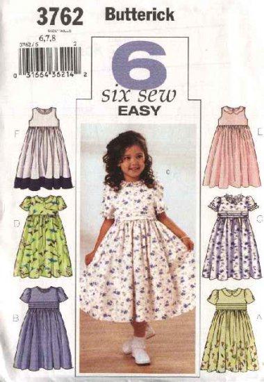 Butterick Sewing Pattern 3762 Girls Size 6-7-8 Easy Classic Raised Waist Full Skirt Dresses
