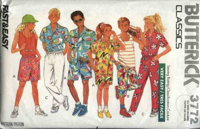 Butterick Sewing Pattern 3772 Boys Girls Size 7-14 Easy Classic Camp Shirt Tank Top Shorts Pants