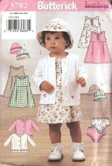 Butterick Sewing Pattern 3782 Baby Girls 13-29 lbs.  Easy Dress Jumper Panties Hat Knit Jacket
