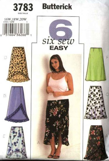 Butterick Sewing Pattern 3783 Womans Plus Size 28W-32W Easy A-Line Skirts Hemline Variations