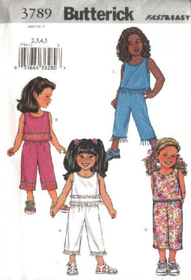 Butterick Sewing Pattern 3789 Girls Size 2-5 Easy Summer Pullover Sleeveless Top Cropped Pants