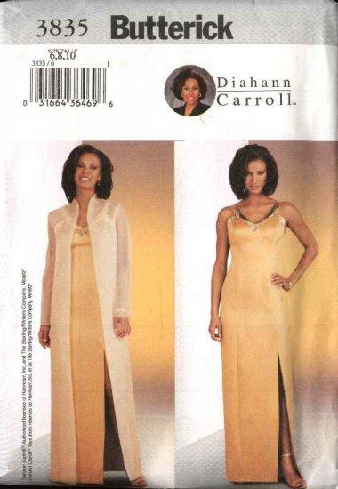 Butterick Sewing Pattern 3835 B3835 Misses Size 6-10 Easy Diahann Carroll Formal Evening Coat Dress