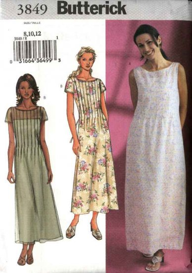 Butterick Sewing Pattern 3849 Misses Size 8-10-12 Easy Pullover Tucked Front Dress  Slip