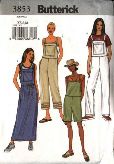 Butterick Sewing Pattern 3853 B3853 Misses Size 6-14 Easy Jumper Long Short Overalls Romper