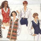 Butterick Sewing Pattern 3856 Misses Size 8-10-12 Easy Top Button Front Vest-Look Blouse