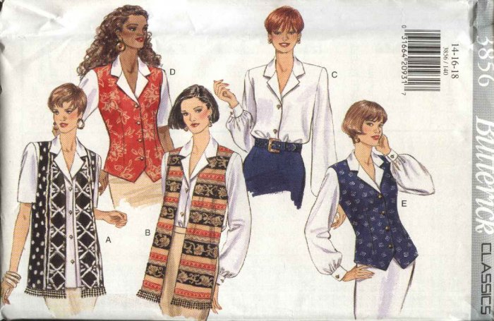 Butterick Sewing Pattern 3856 B3856 Misses Size 14-18 Easy Top Button Front Vest-Look Blouse