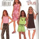 Butterick Sewing Pattern 3860 Girls Plus Size 10½-16½  Easy  Wardrobe Dress Top Shorts Pants