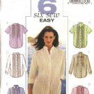 Butterick Sewing Pattern 3895 Misses Size 6-8-10 Easy Button Front Tucked Shirts Blouse Top
