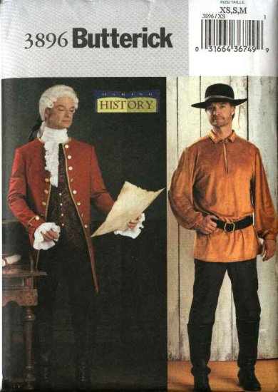"""Butterick Sewing Pattern 3896 Mens Chest Size 42-48"""" Costume Frontier Colonial Man 18th Century"""