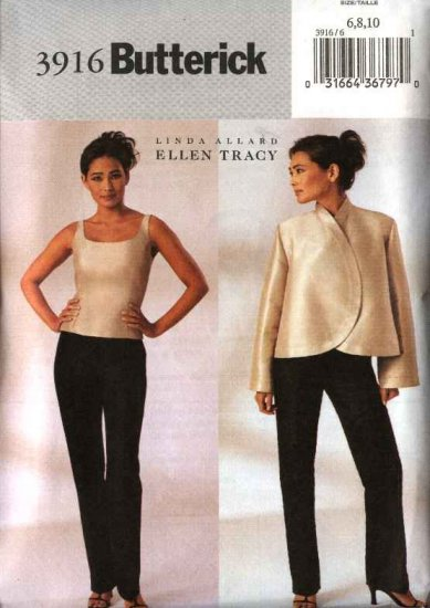 Butterick Sewing Pattern 3916 Misses Size 6-8-10 Unlined Long Sleeve Jacket Sleeveless Top  Pants