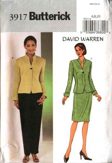 Butterick Sewing Pattern 3917 B3917 Misses Size 6-10 David Warren Lined Jacket Straight Skirt Pants