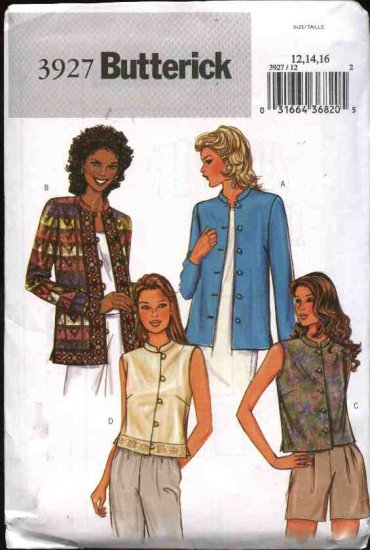 Butterick Sewing Pattern 3927 Misses Size 12-14-16 Easy Lined Button Front Jacket Vest
