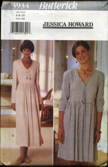 Butterick Sewing Pattern 3934 B3934 Misses Size 6-8-10 Easy Raised Waist Gathered Skirt Dress