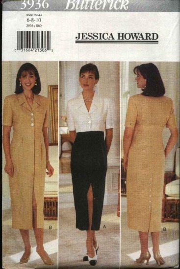 Butterick Sewing Pattern 3936 Misses Size 6-10 Raised Waist Straight Skirt Dress Jessica Howard