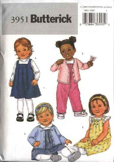 Butterick Sewing Pattern 3951 Infant Baby Size 8-25# Easy Wardrobe Cardigan Jumper Overalls Panties