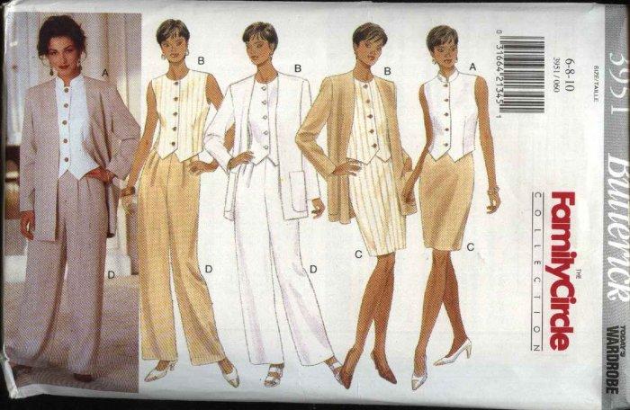 Butterick Sewing Pattern 3951 Misses Size 6-8-10 Easy Wardrobe Jacket Vest Top Skirt Pants