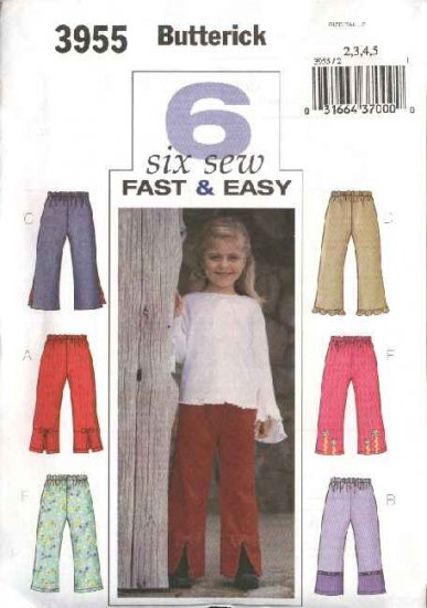 Butterick Sewing Pattern 3955 Girls Size 2-3-4-5 Easy Long Pull On Embellished Pants