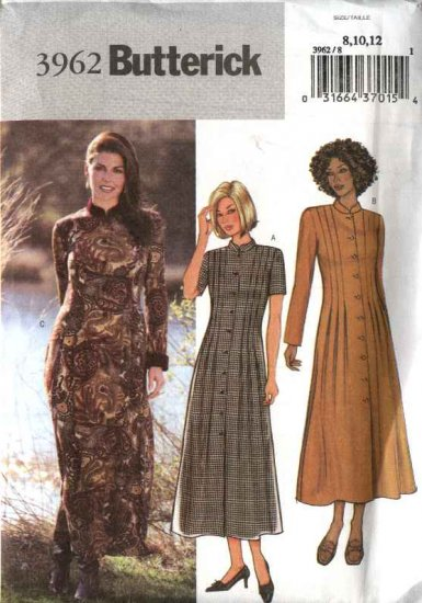 Butterick Sewing Pattern 3962 Misses Size 8-10-12 Easy Button Front Tucked Dresses