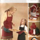 Butterick Sewing Pattern 3983 Christmas Apron Pot Holders Oven Mitt Gift Bottle Bags Tea Towel