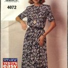 Butterick Sewing Pattern 4072 Misses Size 6-14 Easy Pullover Short Sleeve Dress
