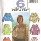 Butterick Sewing Pattern 4074 Misses Size 6-8-10 Easy Raised Empire Waist Pullover Peasant Tops