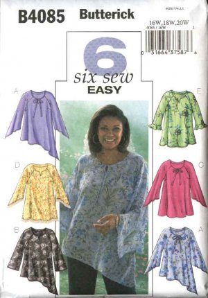 Butterick Sewing Pattern 4085 Womens Plus Size 16W-20W Easy Pullover Blouse Tunic Top