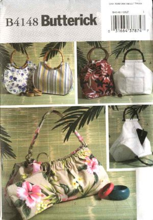 Butterick Sewing Pattern 4148 B4148 Three Lined Fashion Handbags Purses Cosmetic Bag Pocketbooks