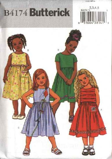 Butterick Sewing Pattern 4174 B4174 Girls' Size 2-3-4-5 Easy Classic Sleeveless Short Sleeve Dresses