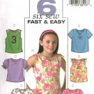 Butterick Sewing Pattern 4177 Girls Size 7-8-10 Easy Knit Pullover Tops Sleeve Variations