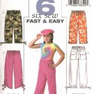 Butterick Sewing Pattern 4178 Girls Size 7-8-10 Easy Long Cropped Capri Pull On Pants Shorts