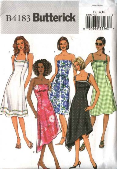 Butterick Sewing Pattern 4183 Misees Size 18-20-22 Strapless Halter Spaghetti Strap Summer Dresses
