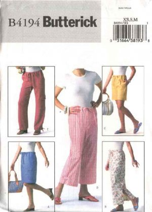 Butterick Sewing Pattern 4194 Misses Size 16-22 Easy A-Line Short Long Skirt Cropped Pants Shorts