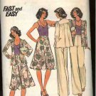 Retro Butterick Sewing Pattern 4195 Misses Size 12 Easy Wardrobe Knit Cardigan Camisole Skirt Pants