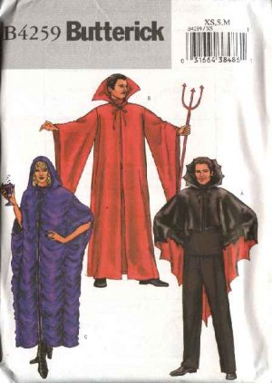 """Butterick Sewing Pattern 4259 B4259 Mens Misses Unisex Chest 30-40""""  Devil Vampire Gothic Costumes"""