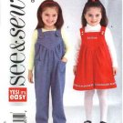 Butterick Sewing Pattern 4260 Toddler Girls Size 1-2-3 Easy Jumper Jumpsuit Overalls