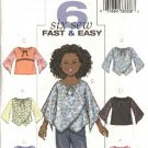 Butterick Sewing Pattern 4274 Girls Plus Size 10-16 Easy Pullover Peasant Baby Doll Tops