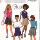 Butterick Sewing Pattern 4281 Girls Plus Size 10½-16½  Button Front Vest Pleated Wrap Front Skort
