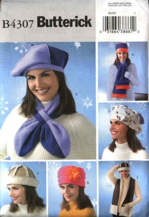Butterick Sewing Pattern 4307 Misses' Fleece Scarves Hats Beret Variations
