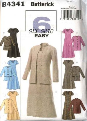 Butterick Sewing Pattern 4341 Misses Size 10-16 Easy Flared Skirt Dress Button Front Jacket
