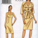 Vogue Sewing Pattern 8491 Misses Sizes 14-22 Easy Sleeveless Straight Dress Jacket Sash