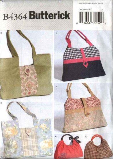 Butterick Sewing Pattern 4364 Three Lined Fashion Handbags Purses Pocketbooks Bags