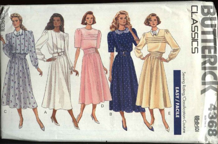 Butterick Sewing Pattern 4368 Misses Size 6-8-10 Easy Classic Full Skirted Dress Tucked Bodice