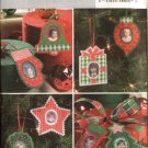Butterick Sewing Pattern 4369 No-sew Photo Christmas Ornaments Bell Star Wreath Stocking