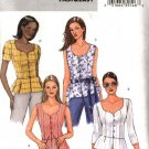 Butterick Sewing Pattern 4394 Misses Size 6-12 Easy Button Front Peplum Blouse Top Sleeve Variation